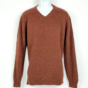 Cordings Wool Long Sleeve V-neck Sweater XL Brown
